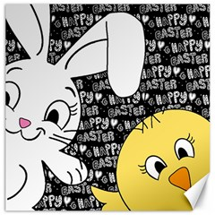 Easter bunny and chick  Canvas 12  x 12