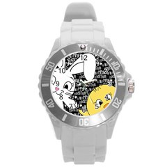 Easter Bunny And Chick  Round Plastic Sport Watch (l)
