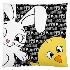 Easter bunny and chick  Large Flano Cushion Case (Two Sides)