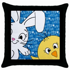 Easter bunny and chick  Throw Pillow Case (Black)