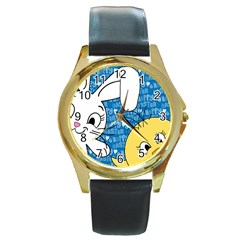 Easter bunny and chick  Round Gold Metal Watch