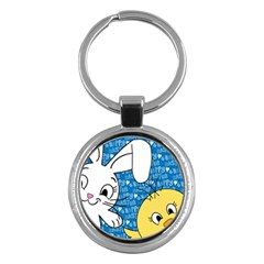 Easter bunny and chick  Key Chains (Round)