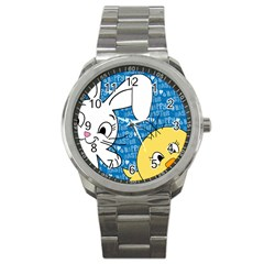 Easter bunny and chick  Sport Metal Watch