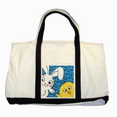 Easter bunny and chick  Two Tone Tote Bag