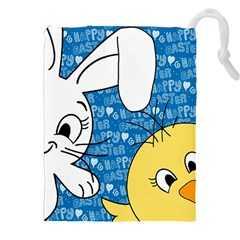 Easter bunny and chick  Drawstring Pouches (XXL)