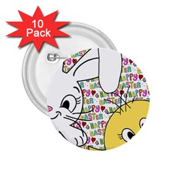 Easter Bunny And Chick  2 25  Buttons (10 Pack)
