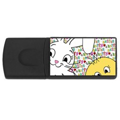 Easter bunny and chick  USB Flash Drive Rectangular (2 GB)