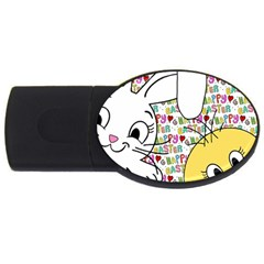 Easter bunny and chick  USB Flash Drive Oval (4 GB)