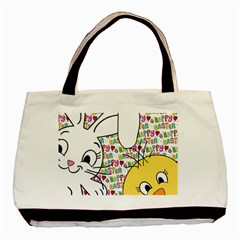 Easter bunny and chick  Basic Tote Bag