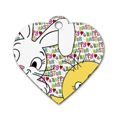 Easter bunny and chick  Dog Tag Heart (One Side)