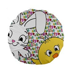 Easter bunny and chick  Standard 15  Premium Flano Round Cushions