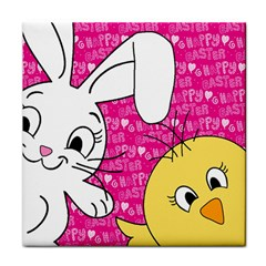 Easter bunny and chick  Tile Coasters