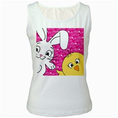 Easter bunny and chick  Women s White Tank Top