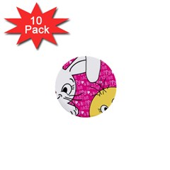 Easter bunny and chick  1  Mini Buttons (10 pack)