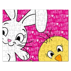 Easter bunny and chick  Rectangular Jigsaw Puzzl