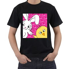 Easter bunny and chick  Men s T-Shirt (Black) (Two Sided)