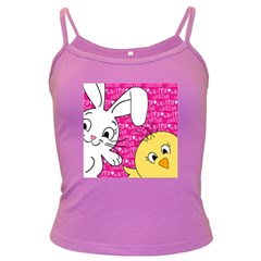 Easter bunny and chick  Dark Spaghetti Tank