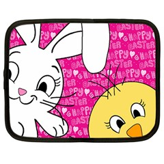 Easter bunny and chick  Netbook Case (Large)