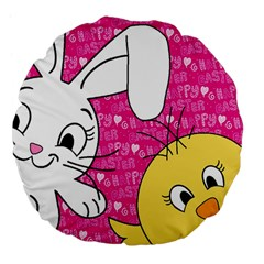 Easter bunny and chick  Large 18  Premium Flano Round Cushions