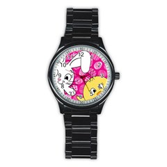 Easter bunny and chick  Stainless Steel Round Watch