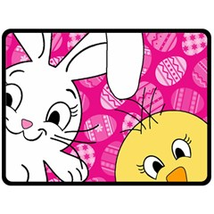 Easter bunny and chick  Double Sided Fleece Blanket (Large)