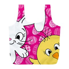 Easter bunny and chick  Full Print Recycle Bags (L)