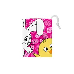 Easter bunny and chick  Drawstring Pouches (XS)