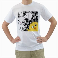 Easter bunny and chick  Men s T-Shirt (White) (Two Sided)