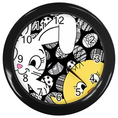 Easter bunny and chick  Wall Clocks (Black)