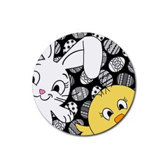 Easter bunny and chick  Rubber Coaster (Round)