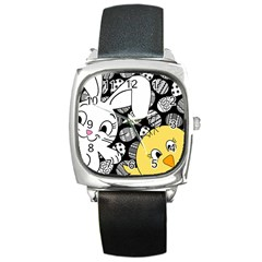 Easter bunny and chick  Square Metal Watch