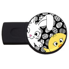 Easter bunny and chick  USB Flash Drive Round (4 GB)