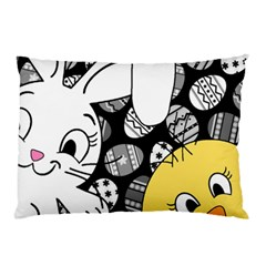 Easter bunny and chick  Pillow Case