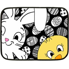 Easter bunny and chick  Double Sided Fleece Blanket (Mini)