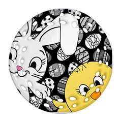 Easter bunny and chick  Round Filigree Ornament (Two Sides)