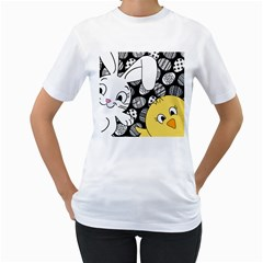 Easter bunny and chick  Women s T-Shirt (White)