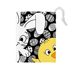 Easter bunny and chick  Drawstring Pouches (Large)