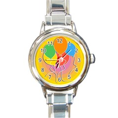 Birthday Party Balloons Colourful Cartoon Illustration Of A Bunch Of Party Balloon Round Italian Charm Watch