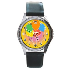 Birthday Party Balloons Colourful Cartoon Illustration Of A Bunch Of Party Balloon Round Metal Watch