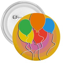 Birthday Party Balloons Colourful Cartoon Illustration Of A Bunch Of Party Balloon 3  Buttons