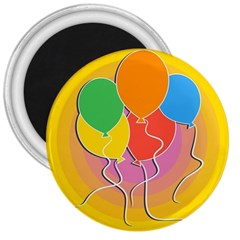 Birthday Party Balloons Colourful Cartoon Illustration Of A Bunch Of Party Balloon 3  Magnets