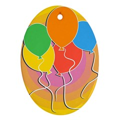 Birthday Party Balloons Colourful Cartoon Illustration Of A Bunch Of Party Balloon Ornament (Oval)