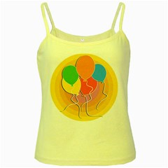 Birthday Party Balloons Colourful Cartoon Illustration Of A Bunch Of Party Balloon Yellow Spaghetti Tank