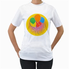 Birthday Party Balloons Colourful Cartoon Illustration Of A Bunch Of Party Balloon Women s T-Shirt (White) (Two Sided)