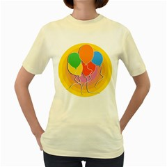 Birthday Party Balloons Colourful Cartoon Illustration Of A Bunch Of Party Balloon Women s Yellow T Shirt