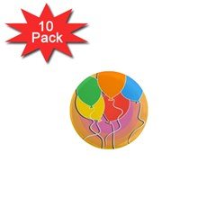 Birthday Party Balloons Colourful Cartoon Illustration Of A Bunch Of Party Balloon 1  Mini Magnet (10 pack)