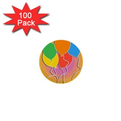 Birthday Party Balloons Colourful Cartoon Illustration Of A Bunch Of Party Balloon 1  Mini Buttons (100 pack)