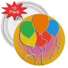 Birthday Party Balloons Colourful Cartoon Illustration Of A Bunch Of Party Balloon 3  Buttons (10 pack)