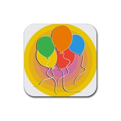 Birthday Party Balloons Colourful Cartoon Illustration Of A Bunch Of Party Balloon Rubber Coaster (Square)