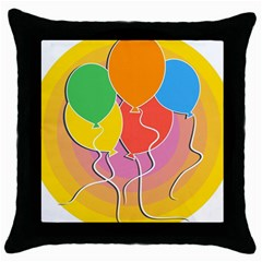 Birthday Party Balloons Colourful Cartoon Illustration Of A Bunch Of Party Balloon Throw Pillow Case (Black)